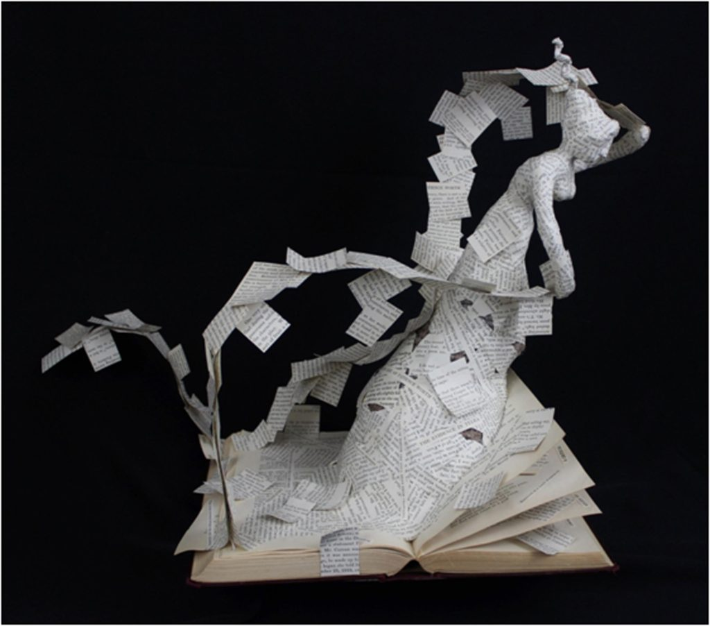 HONORABLE MENTION: A Critical Study of Certain Unusual Phenomena, altered book, fiber, paperclay, and wire by Lynette Reed, 15in x 19in x 12in (September 2016)