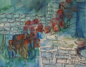 Adobe Village II, Watercolor and Ink by Rita Rose and Rae Rose - Size 16in x 20in (May 2017)