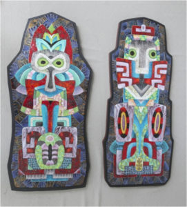 Alien Imagery (Diptych), Enamel on Copper by Herbert Friedson - Size 29in x 13in (May 2017)