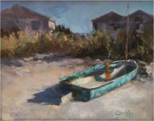 Beached Sailboat, Oil by Sharon Grubbs - Size 11in x 14in (Dec.2016-Jan.2017)