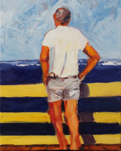 Contemplating Blue #1, Oil on Canvas by Marcia Chaves - Size 10in x 8in (April 2017)