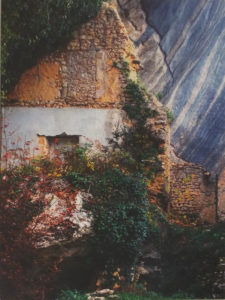 Fallen Cliff, Broken Wall, Metallic Photograph by Deborah Herndon - Size 14in x 10.5in (April 2017)