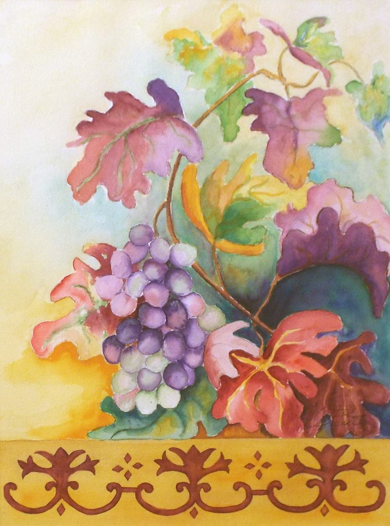 Grape Leaves, Watercolor by Helen Butler - Size15.5in x 11.5in (October 2016)