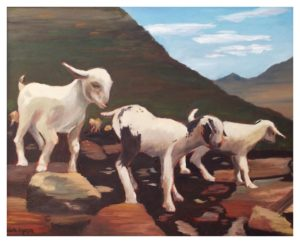Himalaya Blue and Goats, Oil by Collette Caprara - Size 16in 20in (November 2016)