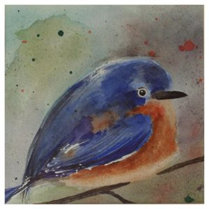 Just Thinking..., Watercolor by Becky Hubbard - Size 9in x 9in Frame 13in x 13in (November 2016)