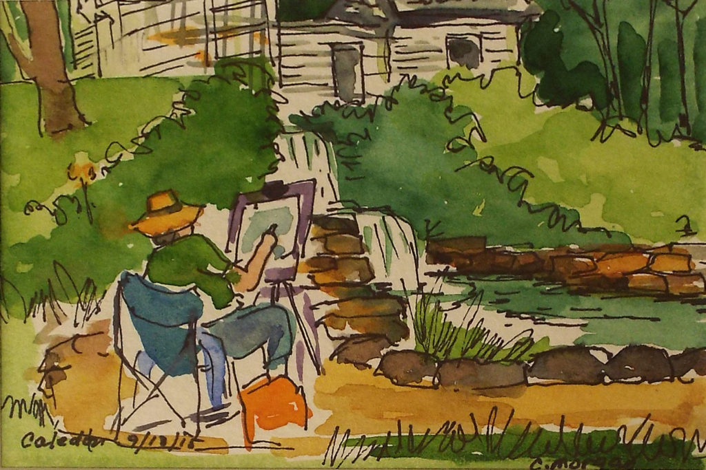 Kathleen W. at Caledon, Plein Air, Watercolor by Carrol Morgan - Size 4in x 6in (October 2016)