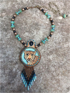 Leopard, Fine Bead Art by Holly Bean - Size 3in x 4in (April 2017)