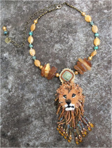 Lion Spirit, Fine Bead Art by Holly Bean - Size 2in x 6in (April 2017)