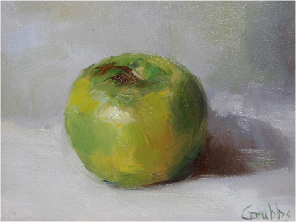 HONORABLE MENTION: Lone Apple, Oil by Sharon Grubbs - Size 6in x 8in (Dec.2016-Jan.2017)