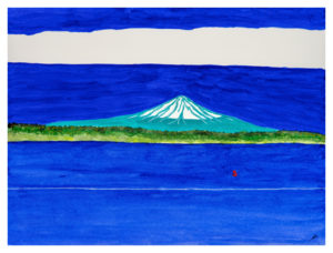 Mount Rainier, Wake and Buoy, Watercolor by Bro Halff - Size 12in x 16 (November 2016)
