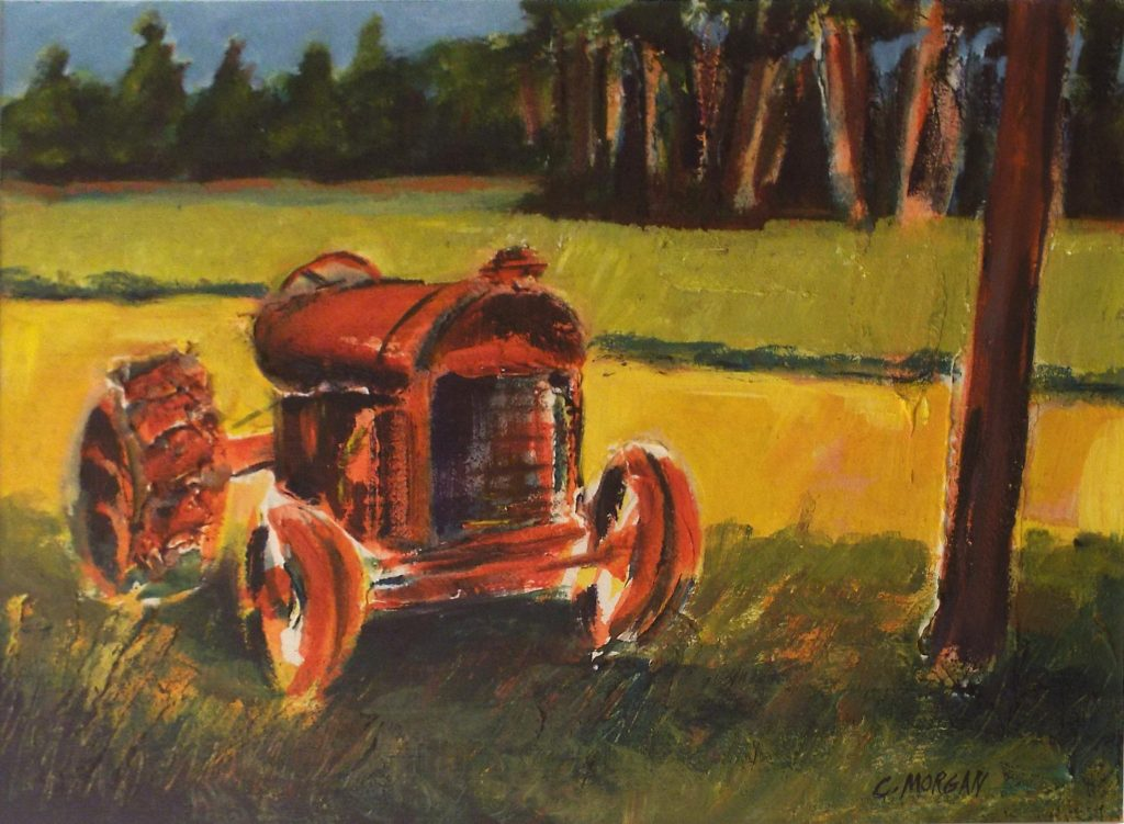 Mr. Rock's Old Red Tractor, Acrylic Mixed Media by Carrol Morgan - Size 11in x 15in (October 2016)