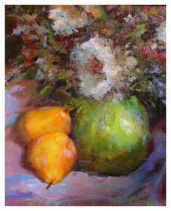 Pears and Flowers, Oil by Sharon Grubbs - Size 10in x 8in (November 2016)