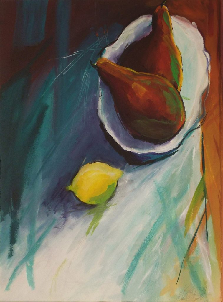 Pears and Lemon, Watercolor by Helen Butler - Size 23in x 17in (October 2016)