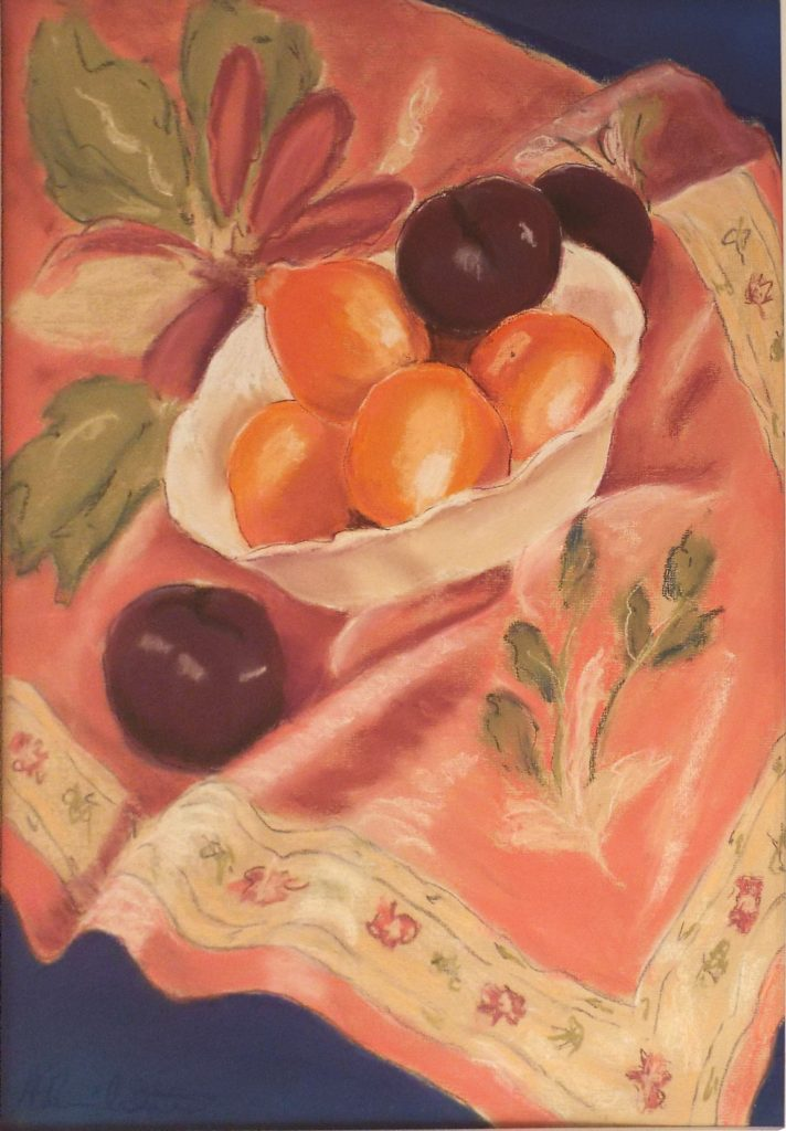 Plums on Pink Cloth, Pastel by Helen Butler - Size 23in x 16in (October 2016)
