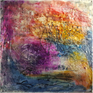 Pond, Encaustic on Wood by Ruth Golmant - Size 10in x 10in (May 2017)