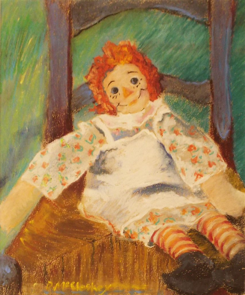 Raggedy Ann in Blue Chair, Pastel by Dee McCleskey - Size 12in x 10in (October 2016)
