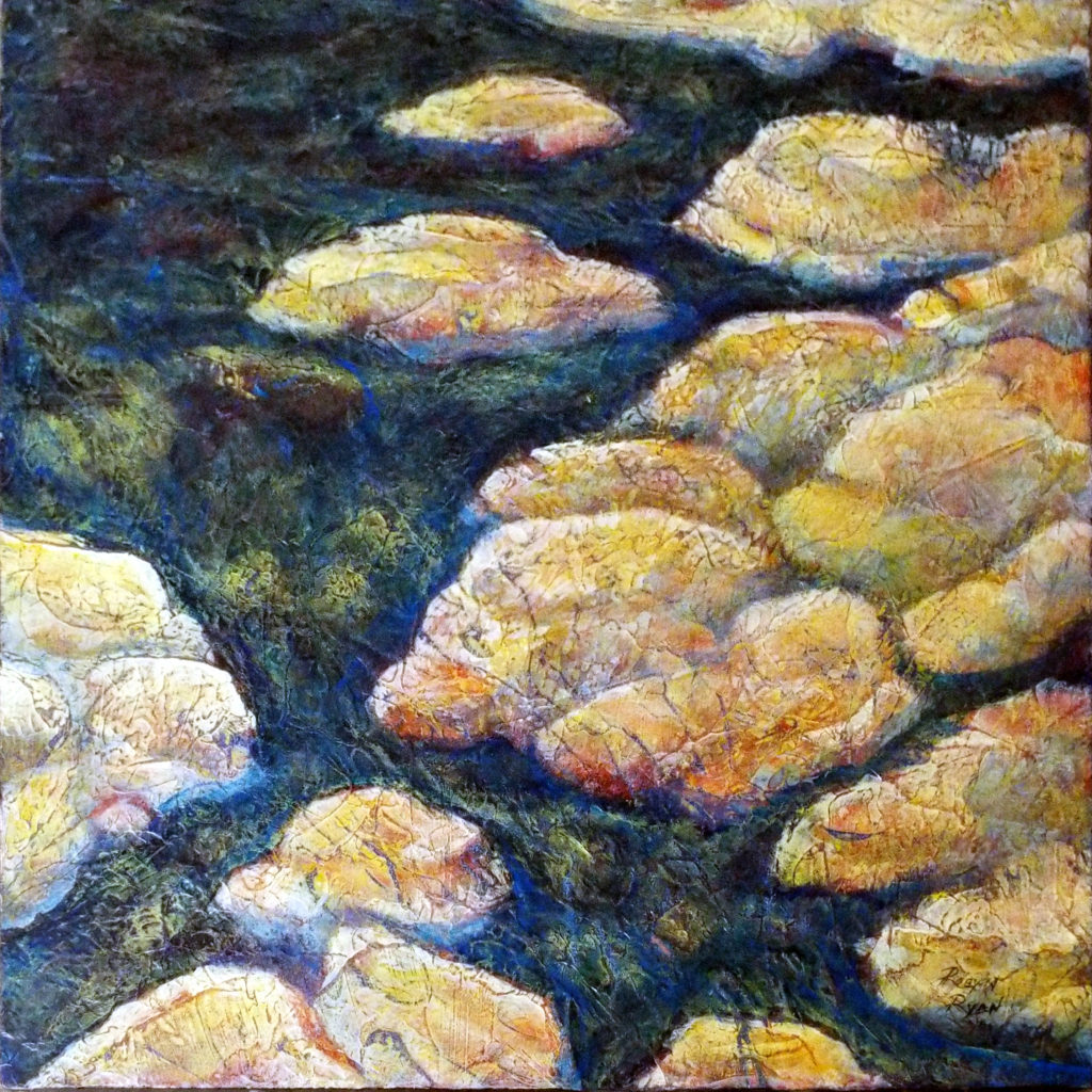 Rocky Stream, Acrylic Layers by Robyn Ryan - Size12in x 12in (October 2016)