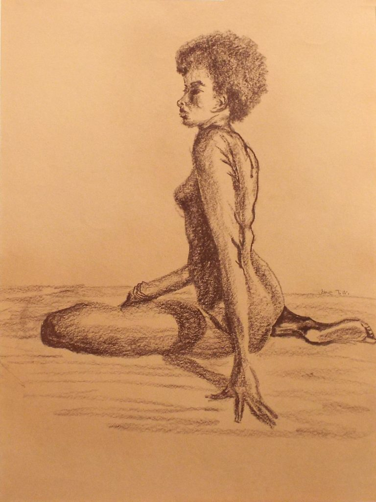Seated Nude, Conte Crayon on Paper by Jane Woodworth - Size 32in x24in (October 2016)