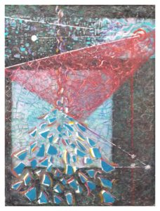 Shattering, Acrylic with China by Patricia Smith - Size 24in x 18in (November 2016)