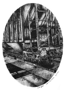 Sittin' on the Tracks 4, Pen and Ink by Faith Gaillot - Size 12in x 9in (Dec.2016-Jan.2017)