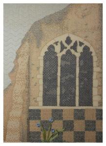 St. Andrews, Fiber, Cotton & Silk Ribbon on Linen by April Koenig - Size 14in x 10in (November 2016)
