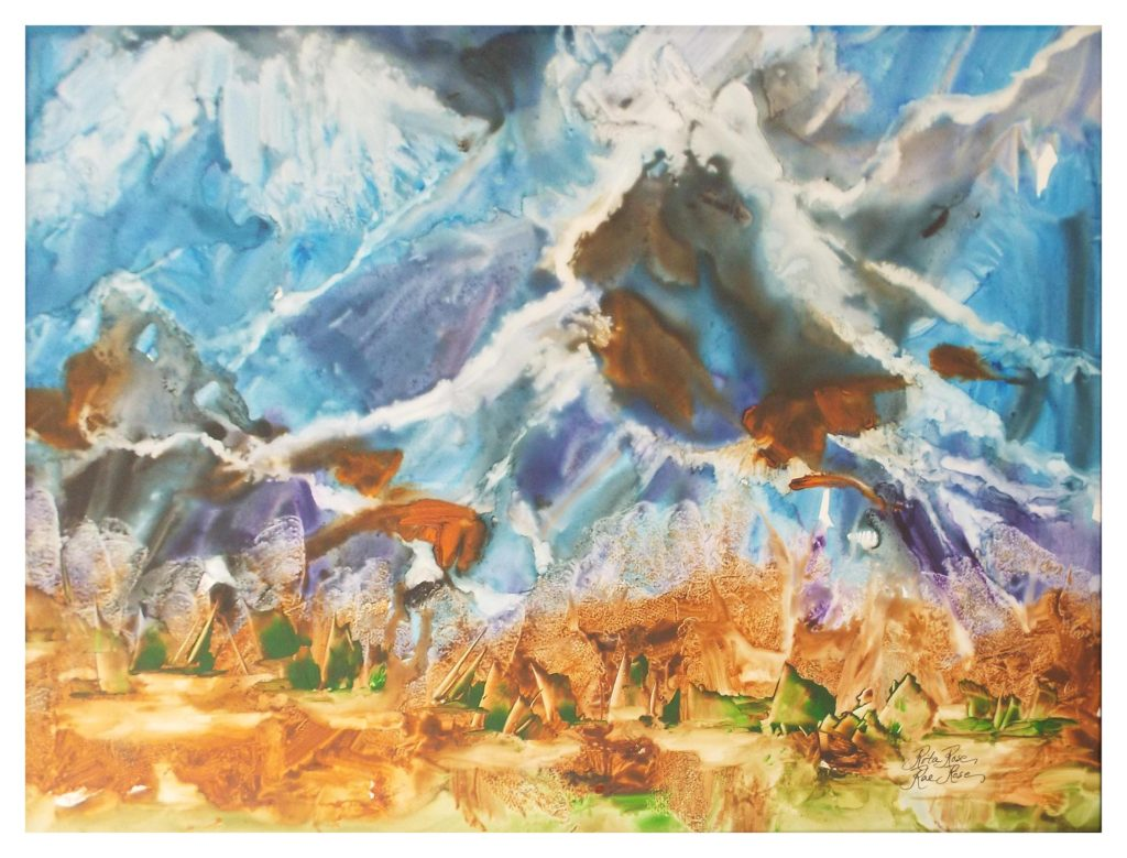 HONORABLE MENTION: Turbulence, Watercolor on Yupo by Rita Rose and Rae Rose - Size 18in x 24in (November 2016)