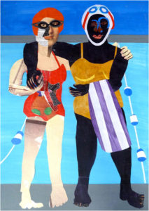 Two Swimmers, Collage by Eleanor Hughes - Size 26in x 18.5in (March 2017)