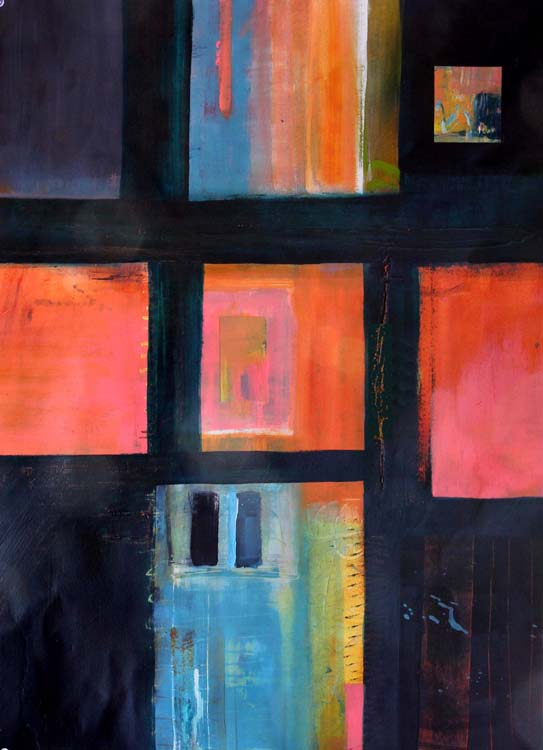 SECOND PLACE: Glimpses II, Mixed Media by Barbara Taylor Hall (February 2012)