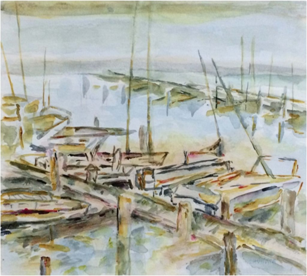 HONORABLE MENTION: Dockside, Watercolor by Elizabeth Shumate- Size 9in x 12in (August 2016)