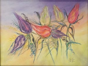 Flourishing Upward, Pastel & Ink by Rita Rose and Rae Rose- Size 18in x 24in (August 2016)
