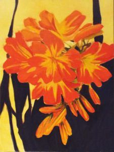 Gift From Cindy (The Clivia), Oil by Marcia Chaves- Size 24in x 18in (August 2016)