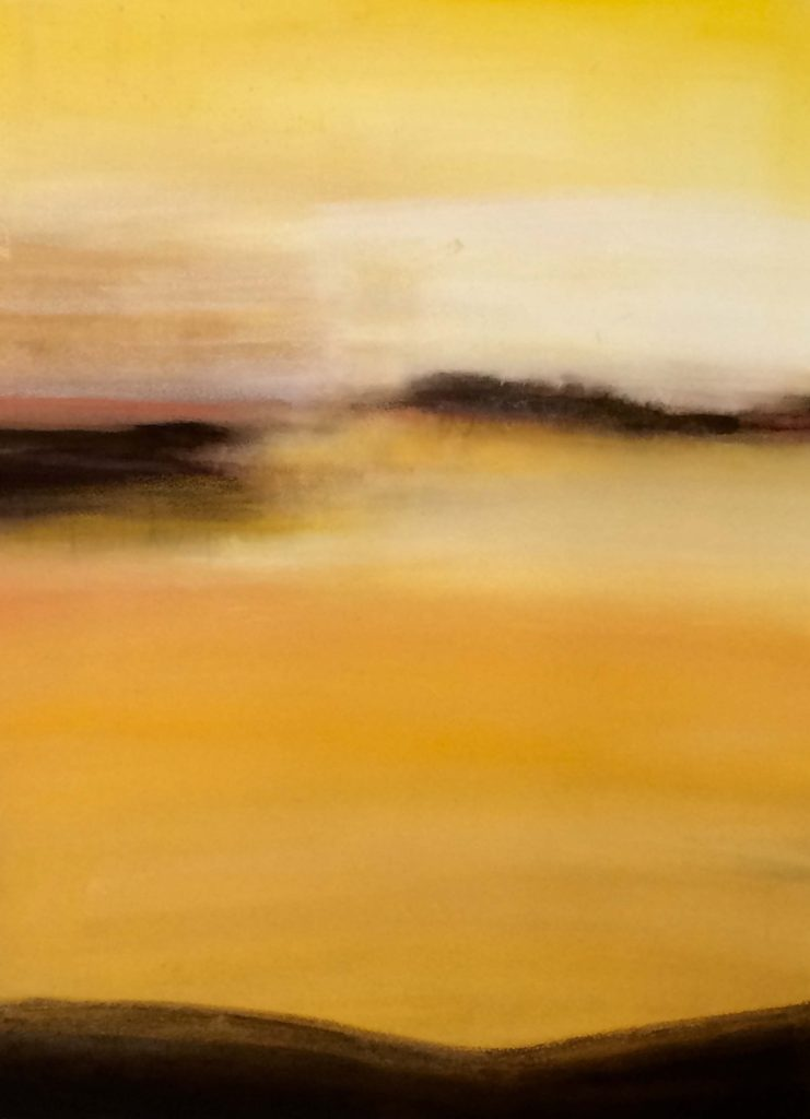 HONORABLE MENTION: Golden Hour, Mixed Media by Barbara Taylor Hall-Size 29in x 21in (August 2016)