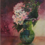 Green Vase with Hydrangeas, Watercolor by Beverley C. Coates, Size 20in x 16in (June 2017)