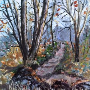 Path Along the Ridge, Acrylic by Karen Julihn- Size 12in x 12in (August 2016)