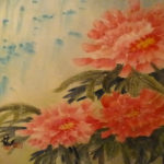 Peonies, Sumi Watercolor by Carol Waite, Size 21i x 23in (June 2017)