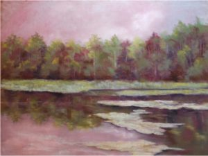 Pond Reflection, Pastel by Kathleen Willingham - Size 18in x 24in (August 2016)