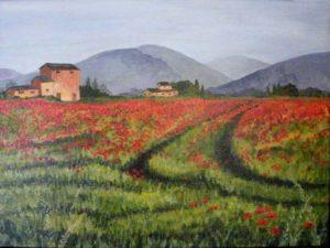 Poppy Pathways, Acrylic by Sandy Staley (February 2012)