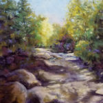 Sunlit Trail, Pastel by Kathleen Willingham, Size 17in x 17in (June 2017)