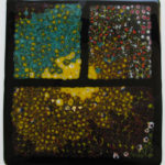The World Through a Window, Fused Glass with Stand by Ben Childers, Size 17in x 12in (June 2017)