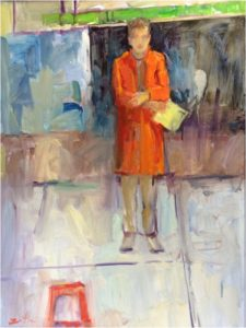 Tyler's Red Coat, Oil on Canvas by Nancy Brittle- Size 24in x 18in (July 2016)