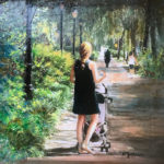 Walk in the Park, Acrylic and Collage by Karen Julihn, Size 12in x 12in (June 2017)