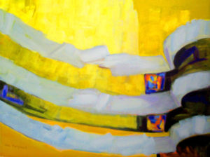 Guggenheim Interior,  Acrylic by Aina Nergaard-Nammack, size 3'x4' (March 2012)