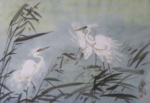 White Herons, Sumi-e by Carol Waite (June 2012)