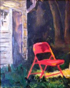 Red Chair at Night, Oil on Canvas by Christina W Smith (March 2012)