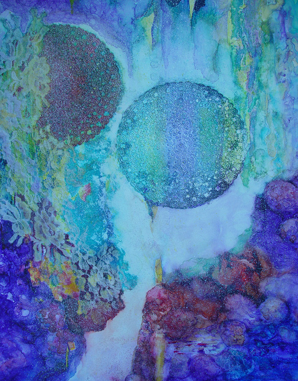 HONORABLE MENTION: Two Moons, Acrylic Collage by Christina Boechler (March 2012)