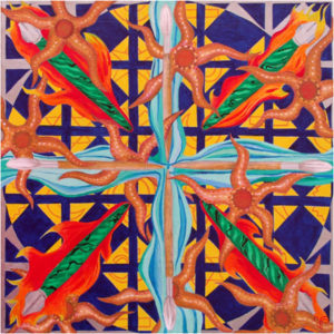 Diversity, Quadrant Abstract, Acrylic on Canvas by Victoria Pendragon, Size 20in x 20in (July 2017)
