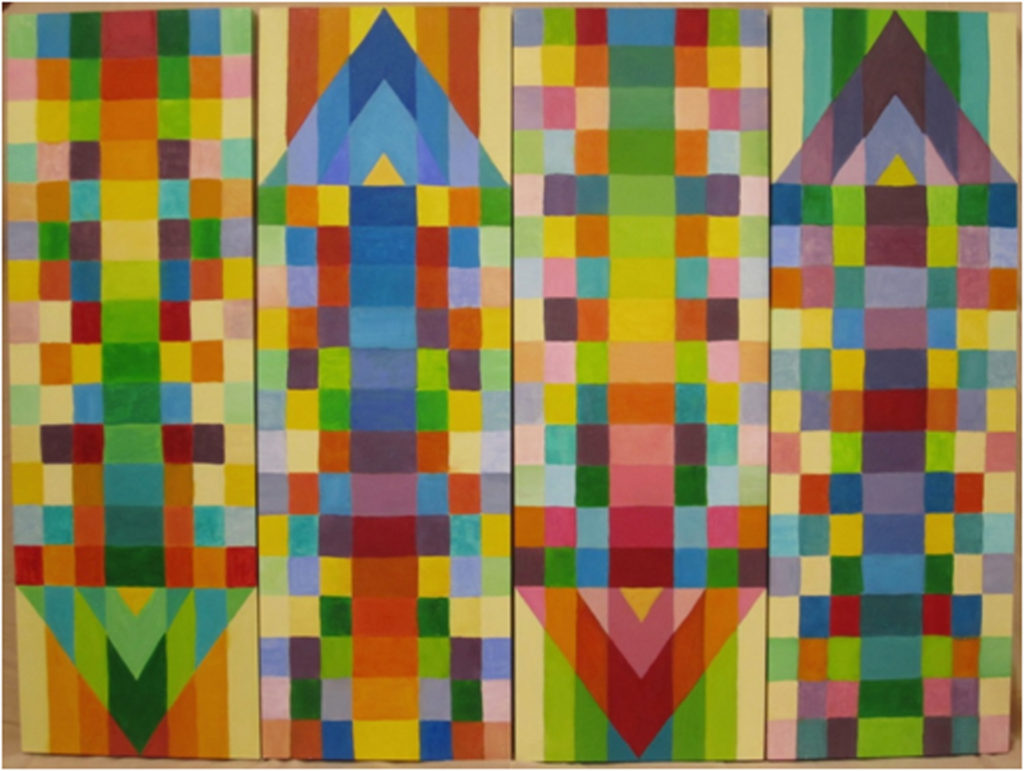 HONORABLE MENTION: It's All Relative, oil on Panels, Installation by Elizabeth Shumate, Size 4 (@ 12in x 36in) (July 2017)
