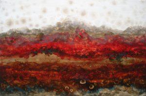 Eruption, Oil Gold Leaf Resin by Jennifer Carwile (September 2012)