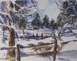 Belmont Snow, Watercolor by Marcia Chaves (October 2012)