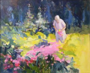 Betsy Gathering Flowers, Oil on Canvas by Nancy Brittle (October 2012)